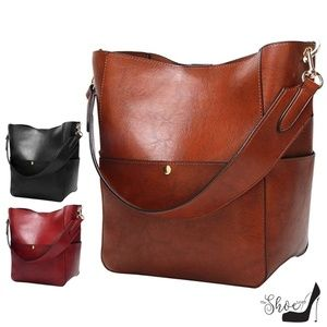 Hobo Style Bucket Bag COGNAC or BLACK